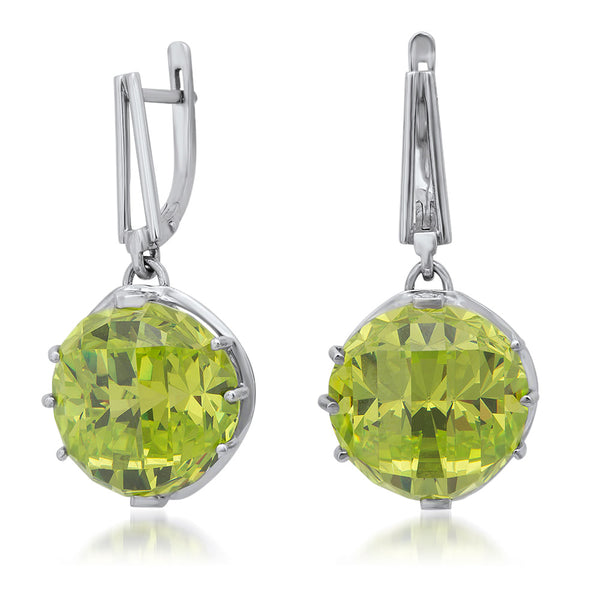 875 Silver Earrings with Green Citrine