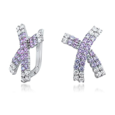 925 Silver Earrings with Pink CZ, White CZ