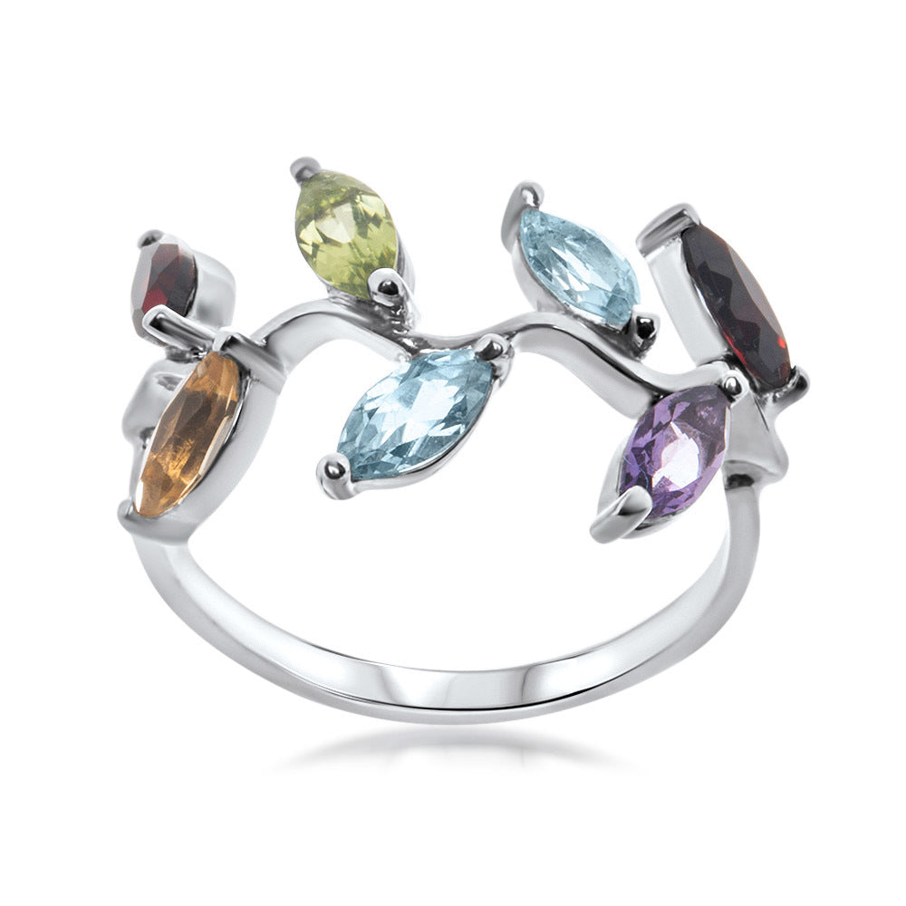 925 Silver Ring with Amethyst, Yellow Citrine, Garnet, Peridot, Blue Topaz