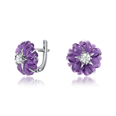925 Silver Earrings with Amethyst, White CZ