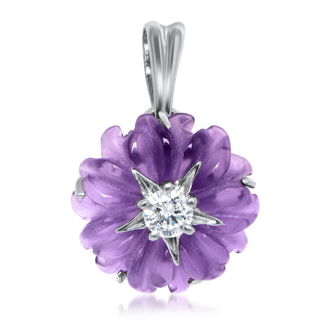 925 Silver Pendant with Amethyst, White CZ