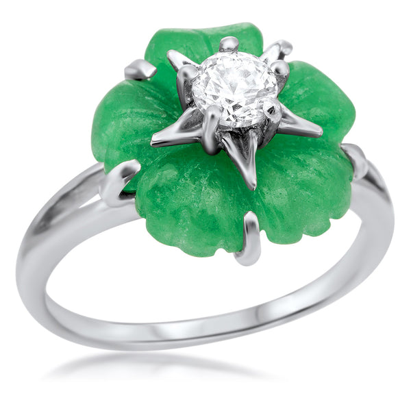 875 Silver Ring with Green Jade