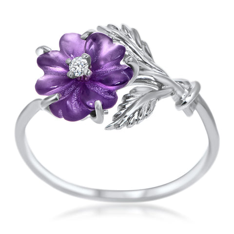 925 Silver Ring with Amethyst, White CZ
