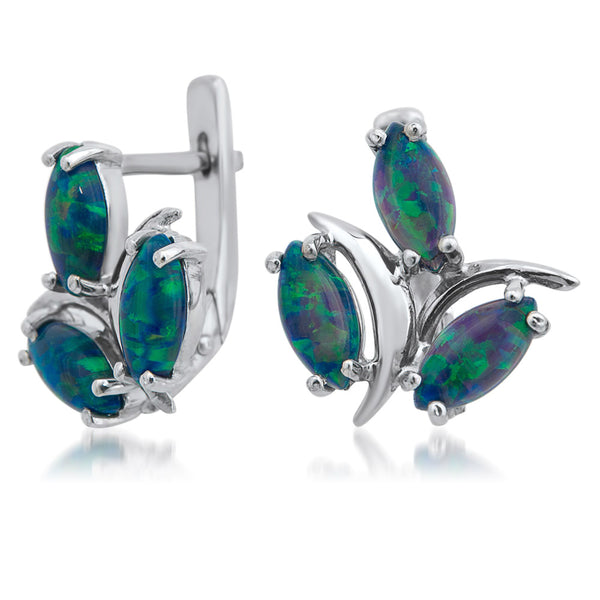 875 Silver Earrings with Green Opal