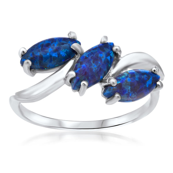 875 Silver Ring with Blue Opal