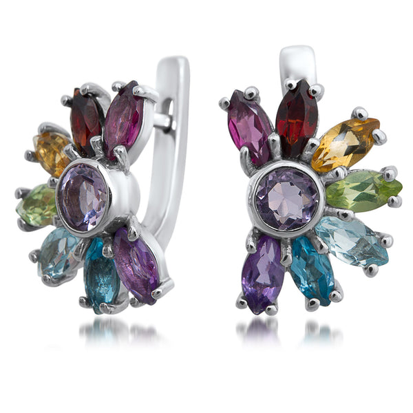 875 Silver Earrings with Amethyst, Yellow Citrine, Garnet, Peridot, Prasiolite, Rhodolite Garnet, Blue Topaz