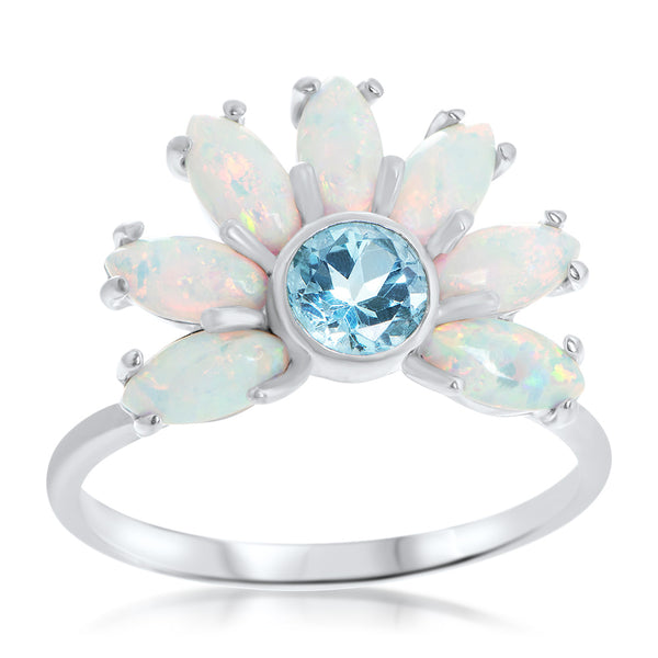 875 Silver Ring with White Opal, Blue Topaz