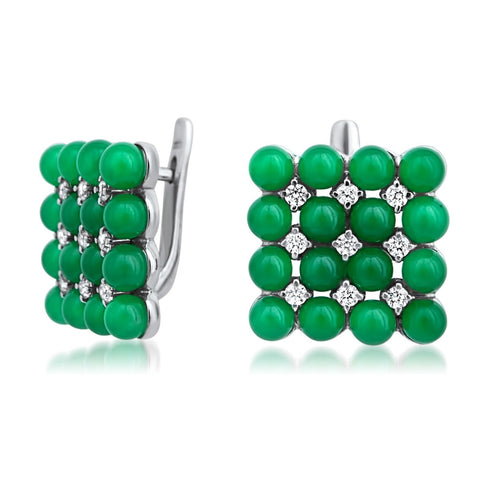 875 Silver Earrings with Green Jade