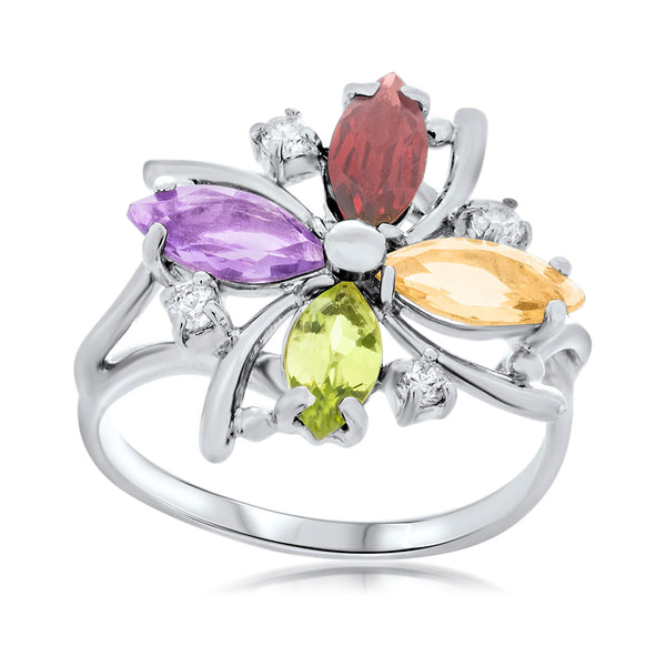 925 Silver Ring with Amethyst, Yellow Citrine, Garnet, Peridot