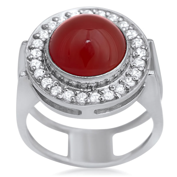 925 Silver Ring with Carnelian