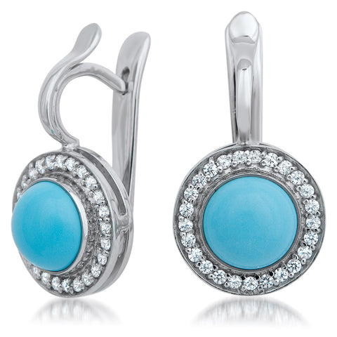 875 Silver Earrings with Reconstructed Turquoise