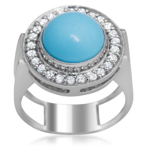 875 Silver Ring with Reconstructed Turquoise