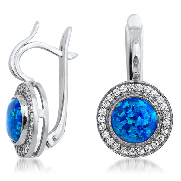 875 Silver Earrings with Blue Opal