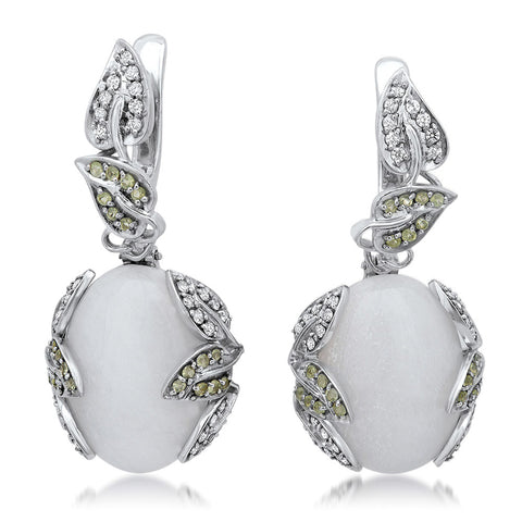 875 Silver Earrings with White Agate
