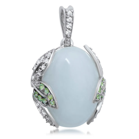 875 Silver Pendant with White Agate