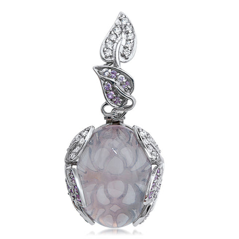 875 Silver Pendant with Pink Quartz