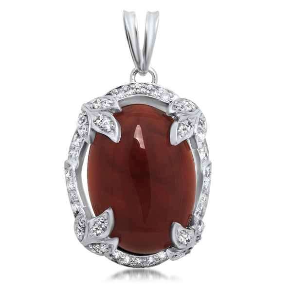 925 Silver Pendant with Carnelian