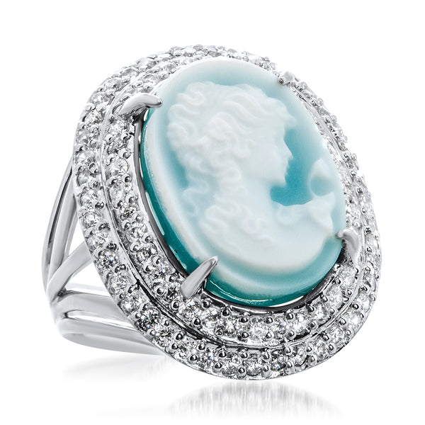 925 Silver Ring with Blue Agate, Cameo