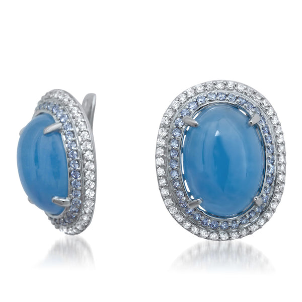 875 Silver Earrings with Blue Jade