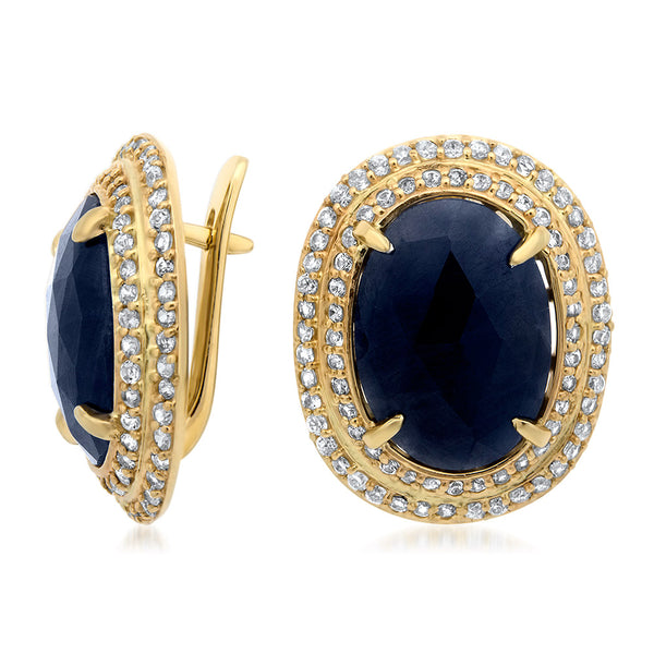 14K Yellow Gold Earrings with Blue Sapphire
