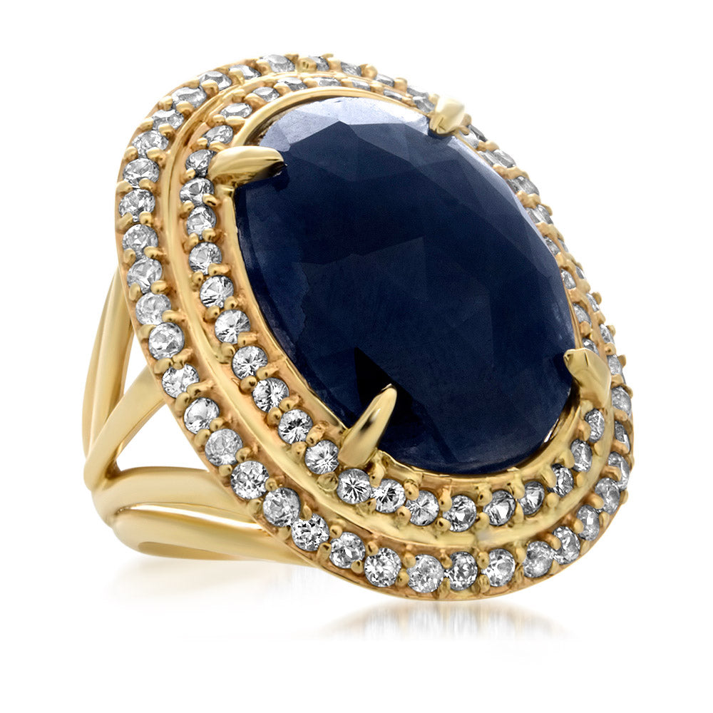 14K Yellow Gold Ring with Blue Sapphire