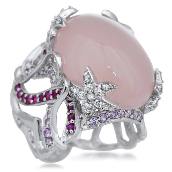 875 Silver Ring with Pink Agate