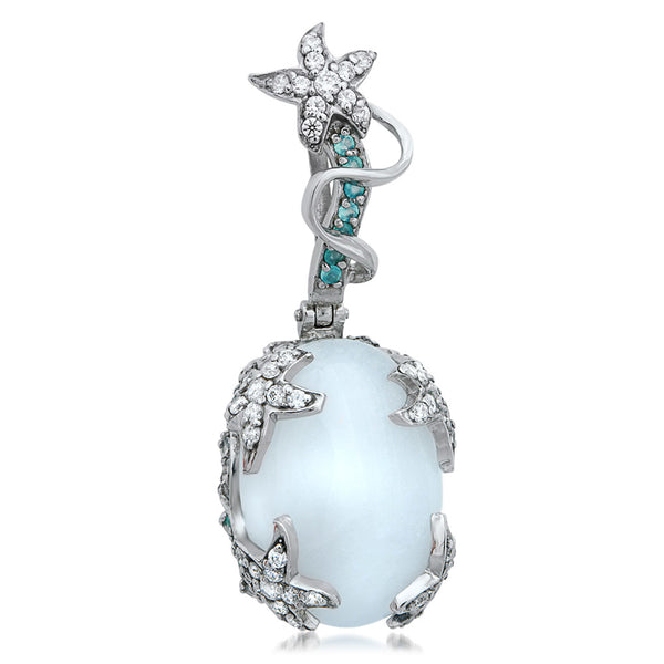 875 Silver Pendant with White Agate, Blue Chalcedony