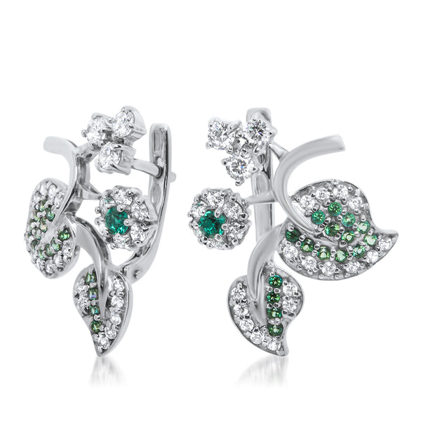 875 Silver Earrings with Emerald, White Topaz