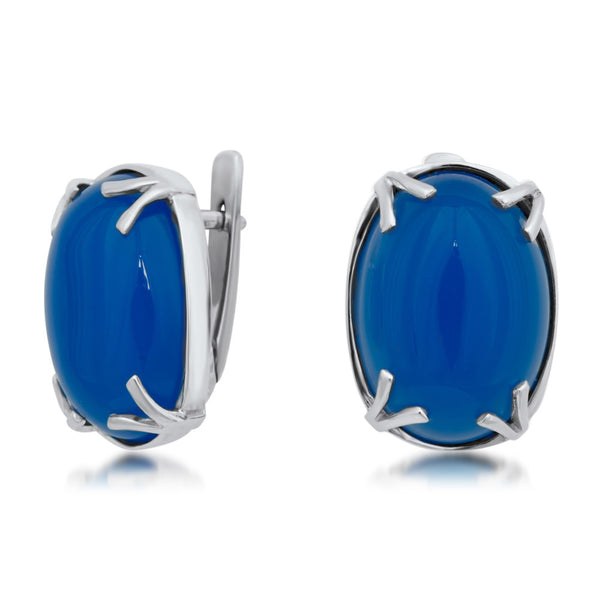 875 Silver Earrings with Blue Agate