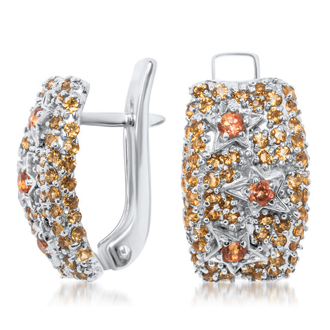 875 Silver Earrings with Orange CZ