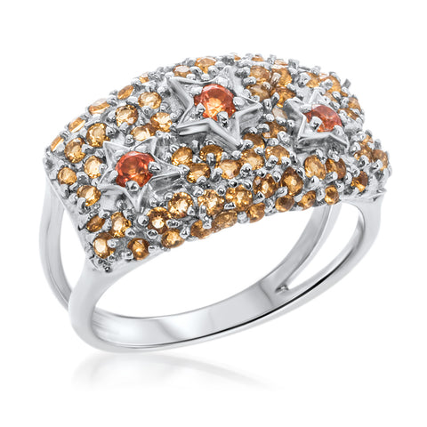 875 Silver Ring with Orange CZ