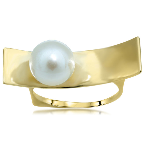 14K Yellow Gold Ring with White Cultured Pearl