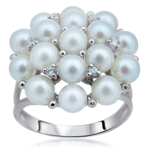 875 Silver Ring with White Cultured Pearl