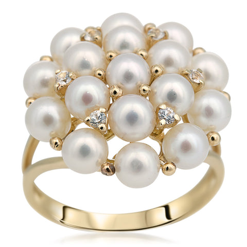 14K Pink Gold Ring with White Cultured Pearl