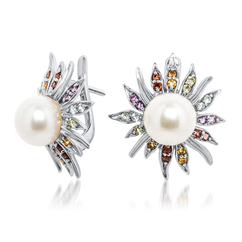875 Silver Earrings with White Cultured Pearl, Amethyst, Yellow Citrine, Garnet, Peridot, Blue Topaz
