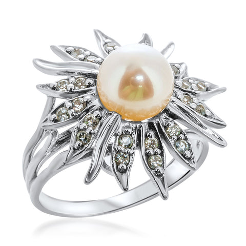 925 Silver Ring with White Cultured Pearl, White Topaz