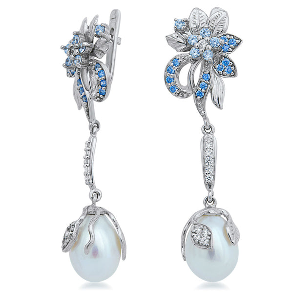875 Silver Earrings with White Cultured Pearl