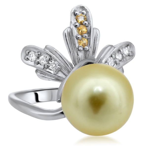 875 Silver Ring with Yellow Shell Pearl