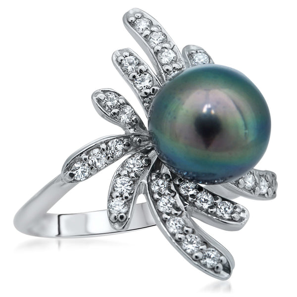 925 Silver Ring with Black Cultured Pearl