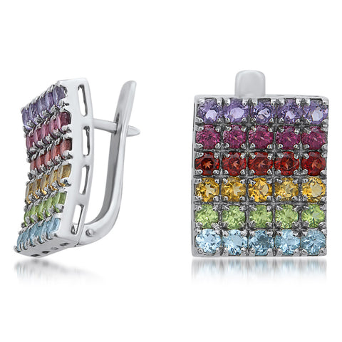 875 Silver Earrings with Amethyst, Yellow Citrine, Red CZ, Garnet, Peridot, Blue Topaz