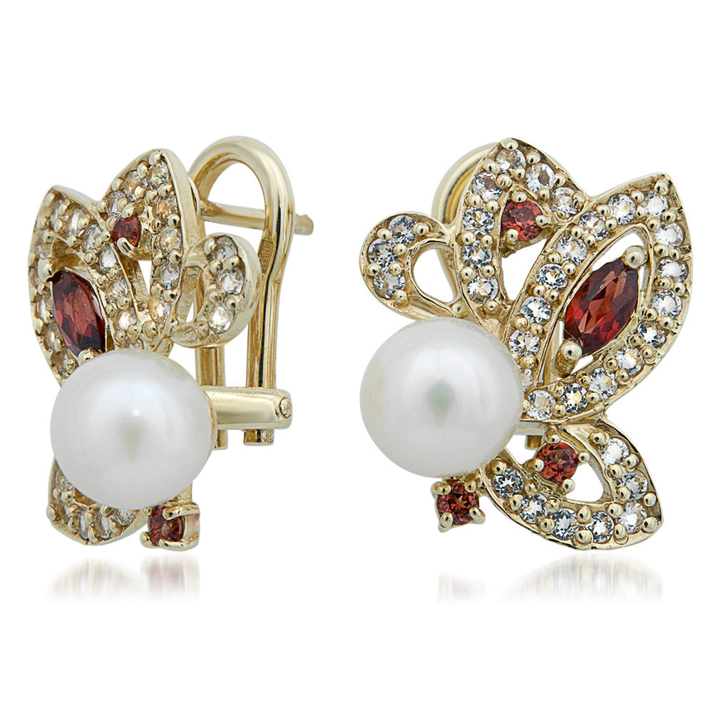 14K Yellow Gold Earrings with White Cultured Pearl