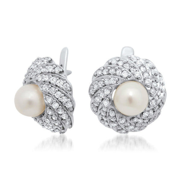 925 Silver Earrings with White Cultured Pearl