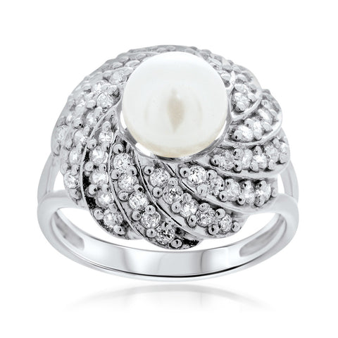 925 Silver Ring with White Cultured Pearl