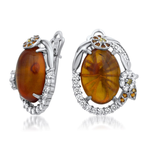 875 Silver Earrings with Brown Amber