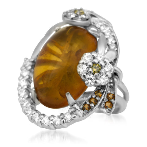 875 Silver Ring with Brown Amber