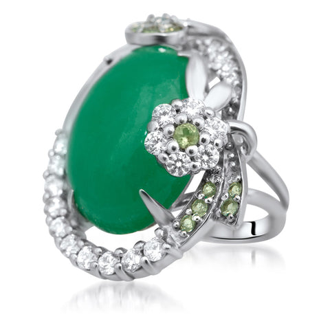 925 Silver Ring with Green Jade