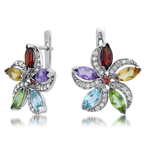 875 Silver Earrings with Amethyst, Yellow Citrine, Garnet, Peridot, Rhodolite Garnet, Blue Topaz