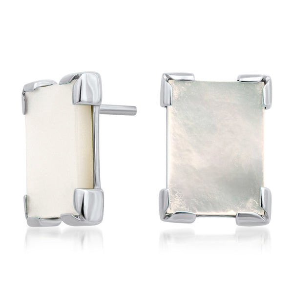 875 Silver Earrings with White Mother of Pearl