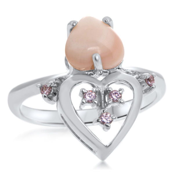 925 Silver Ring with Pink Mother of Pearl