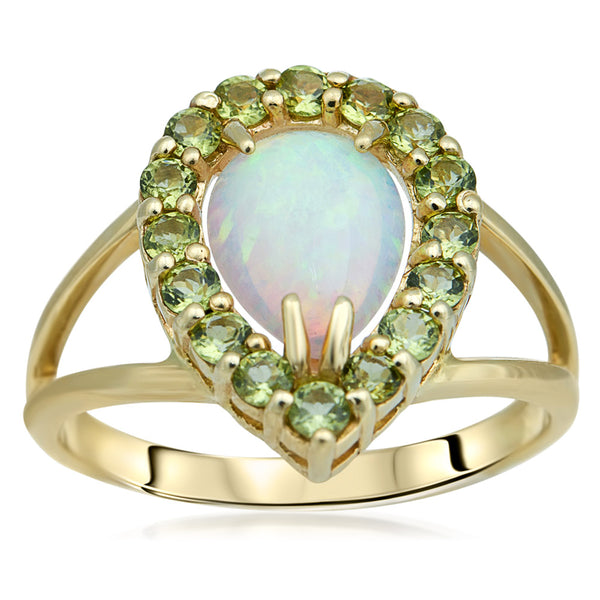 14K Yellow Gold Ring with White Opal